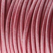 Läderband Metallic Pink 2mm 1meter