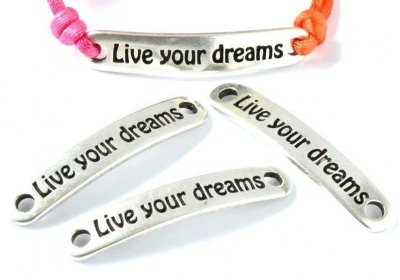 "Metalldel ""Live your dreams"" Silverfärg 38x6,5mm 1st"