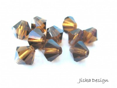 Fasetterad Bicone Smoked Topaz 6mm 10st