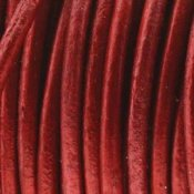 Läderband Metallic Red 2mm 1meter