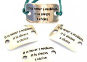 "Metalldel ""It is never a problem. It is always a choice"" Silverfärgat 36x22mm 1st"