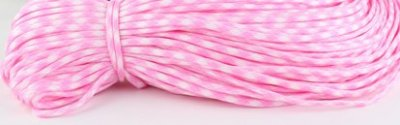 Paracord 4mm Rosa/Vit 1meter